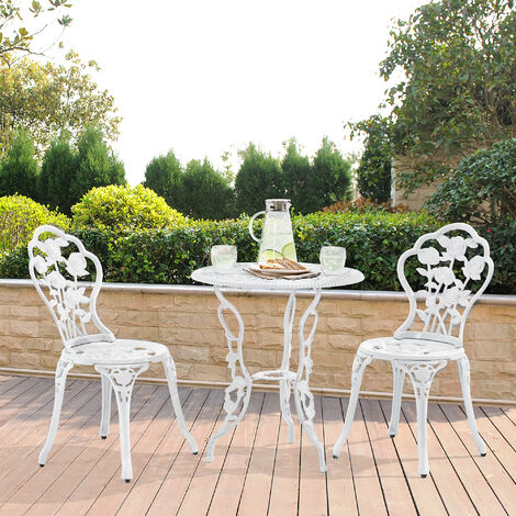 Set bistro hierro fundido mesa + 2 sillas blanco look antiguo muebles para jardín, terraza, balcón