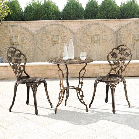Set bistro hierro fundido mesa + 2 sillas bronce look antiguo muebles para jardín, terraza, balcón