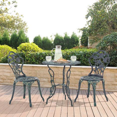 Set bistro hierro fundido mesa + 2 sillas verde oscuro look antiguo muebles para jardín, terraza, balcón