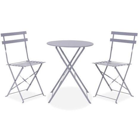 Table Et Chaise Bistrot.Set Bistrot Ensemble Repas De Jardin Table Pliante 2 Chaises Structure Acier Coloris Gris