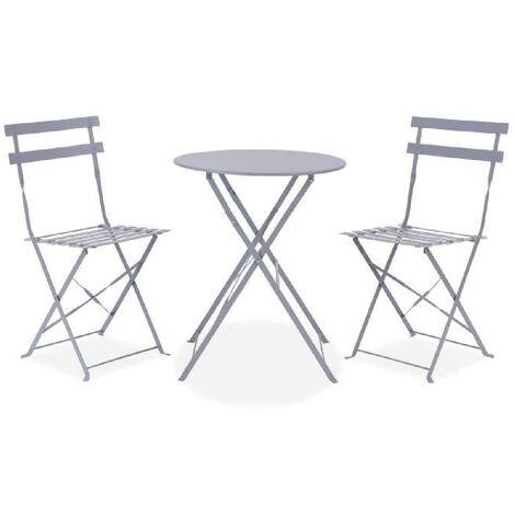 Set bistrot - ensemble repas de jardin - Table pliante + 2 chaises - Structure : acier - Coloris : Gris Aucune