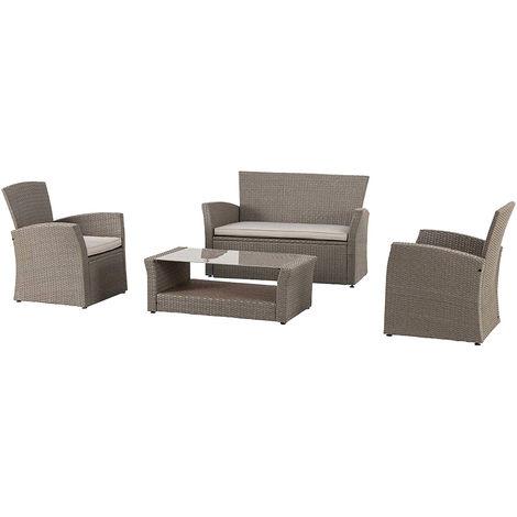 Set bora bora sofa dos sillas y mesa Marron