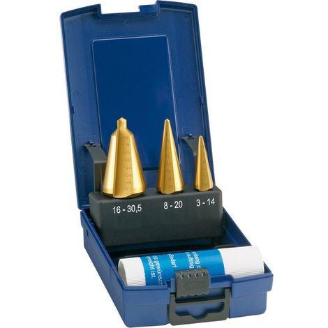 Set Broca corta (helicoidal), acero rápido, TiN, capacidad de perforación : 3-30,5 mm
