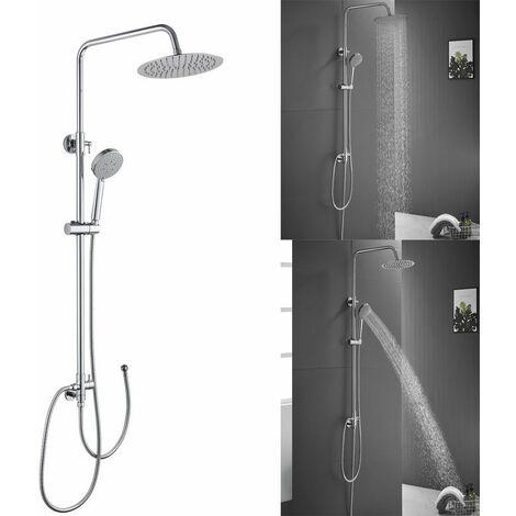 Set Colonne de Douche Showerpipe avec douchette 150cm inox , Mural , Effet Pluie Chrome Eau chaude et froide