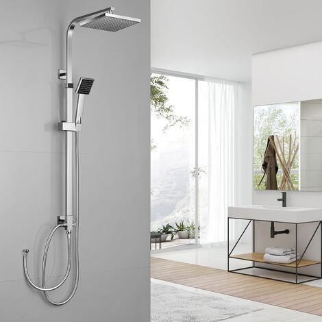 Set Colonne de douche Showerpipe Réglable Carré Mitigeur Thermostatique avec douchette Economie d'Eau Salle be Bain Chrome