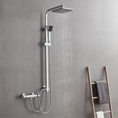 Set Colonne de Douche Showerpipe sans Robinetterie Carré en Laiton Chrome Bras Réglable pour Salle de bain Ensemble de douche