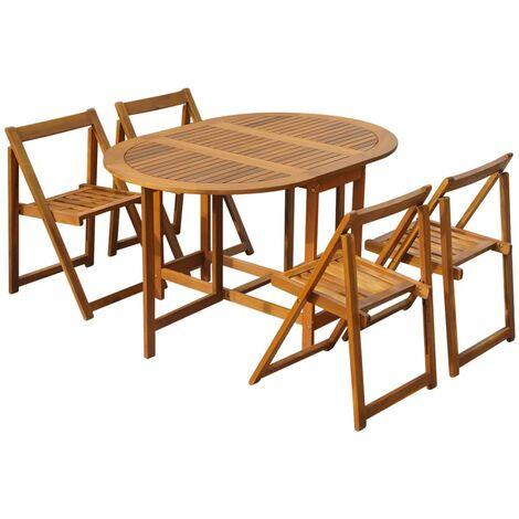 Set comedor de jardín plegable 5 piezas madera maciza de acacia