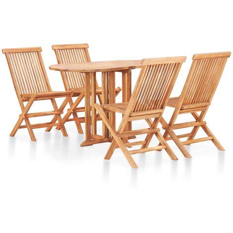 Set comedor de jardín plegable 5 piezas madera maciza de teca