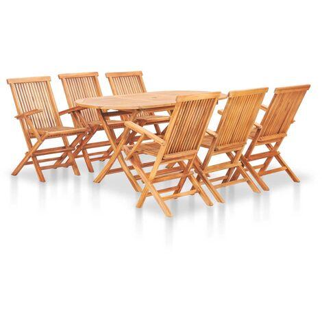 Set comedor de jardín plegable 7 piezas madera maciza de teca