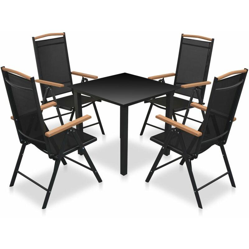 Set comedor jardín con sillas plegables 5 piezas aluminio negro