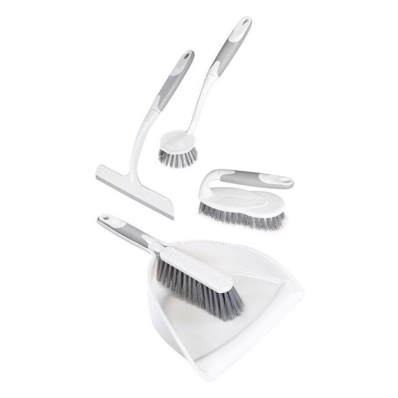 Set complet balayette, brosse à vaisselle, brosse, raclette à vitres, 5 pièces