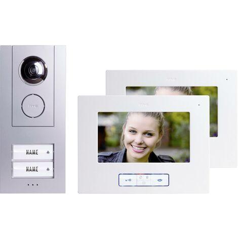 Set complet d'Interphone vidéo filaire 2 foyers m-e modern-electronics Vistus VD 6720 argent, blanc S93061