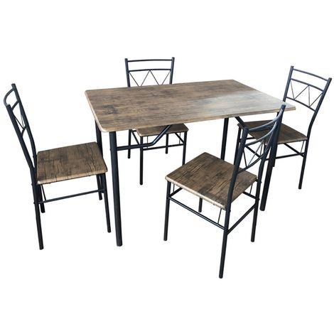 Set completo da pranzo cucina tavolo con 4 posti sedie in ferro grigio e metallo MDF colorazione marrone finto legno per interno sala veranda casa