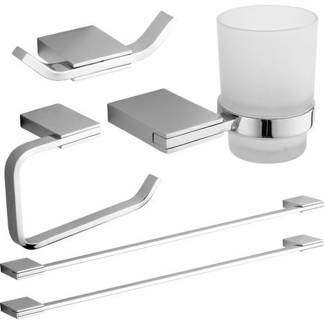 Set Completo Accessori Bagno.Set Completo Di Accessori A Muro Da Bagno 5 Pezzi In Metallo