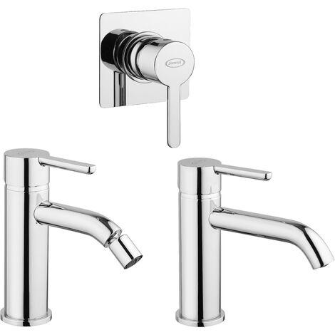 Set completo para lavabo, bidet y ducha empotrada Jacuzzi Rubinetteria Sunset | Cromo