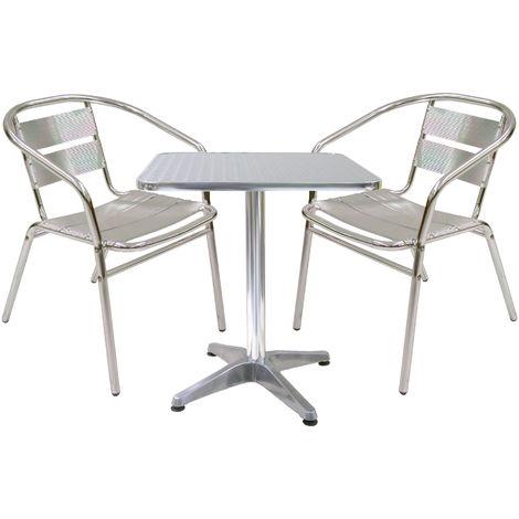 Tavoli Per Bar Da Esterno.Set Completo Salotto In Alluminio 2 Sedie E Tavolo Quadrato Per Casa Balcone Bar Aperitivo Da Esterno Interno