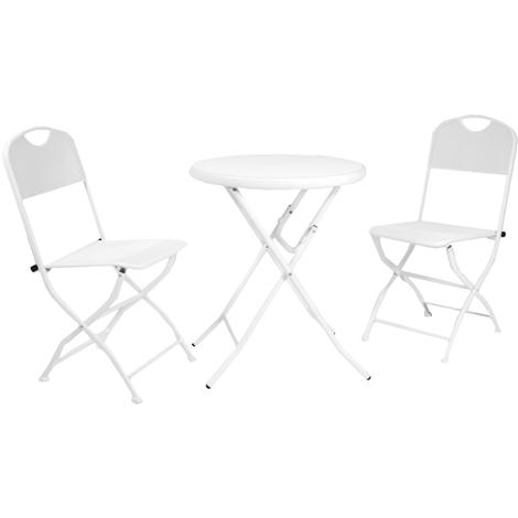 Tavolo Giardino Ferro Bianco.Set Completo Salotto Pieghevole Tavolo E Due Sedie In Ferro Bianco