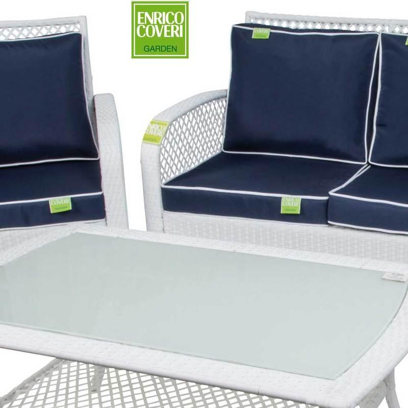 Enrico Coveri Garden Salotto Completo 4 Posti Lounge Marrone E Bianco in Acciaio Ideale per Esterno Giardino E Terrazza