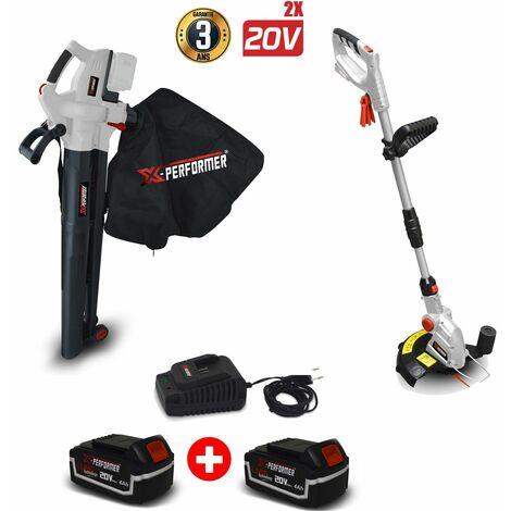 Set Coupe bordures à batterie 20V - X-Performer + Aspirateur souffleur broyeur de feuilles 40V + 2 Batterie 4 Ah et chargeur