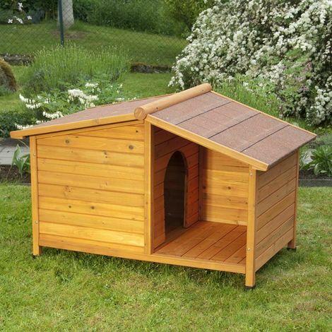 Set Cuccia per cane con terrazzino In abete rosso 102 cm x 64 cm x 65 cm