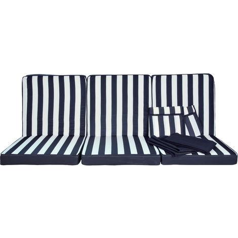 Set Cuscini.Stiliac 9601t311 Set Cuscini Ricambio Rigato Blu Bianco 174x58x8 Cm