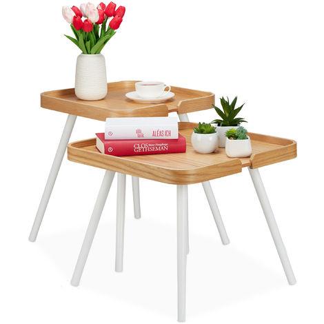 Tavoli da Divano per Soggiorno Relaxdays 10023134 Set 2 Tavolini Sovrapponibili in Vetro con Ripiano in Legno Altezza 40-45 cm