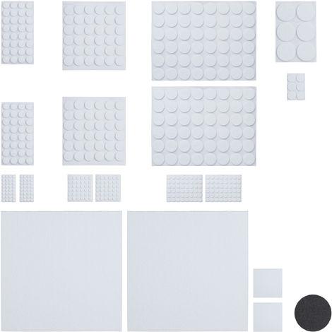 Set da 480 Feltrini Adesivi, 4 Pezzi da Tagliare, Rotondi, Antigraffio per Sedie e Mobili, Varie Dimensioni, Bianchi