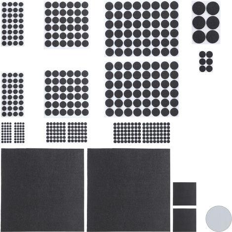 Set da 480 Feltrini Adesivi, 4 Pezzi da Tagliare, Rotondi, Antigraffio per Sedie e Mobili, Varie Dimensioni, Neri