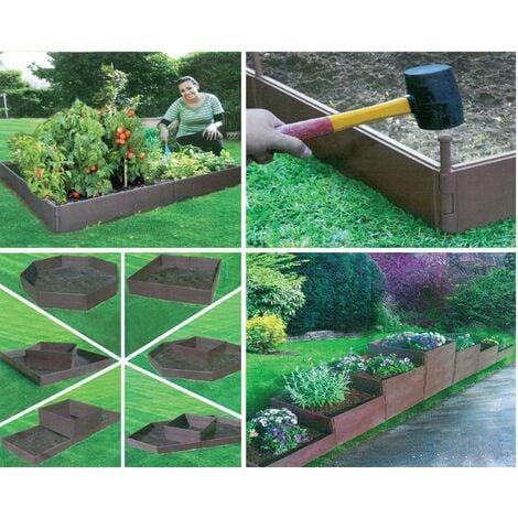 Set da 8 Pannelli Fioriera Orto Multiforma Plastica Giardinaggio Aiuola Vasi