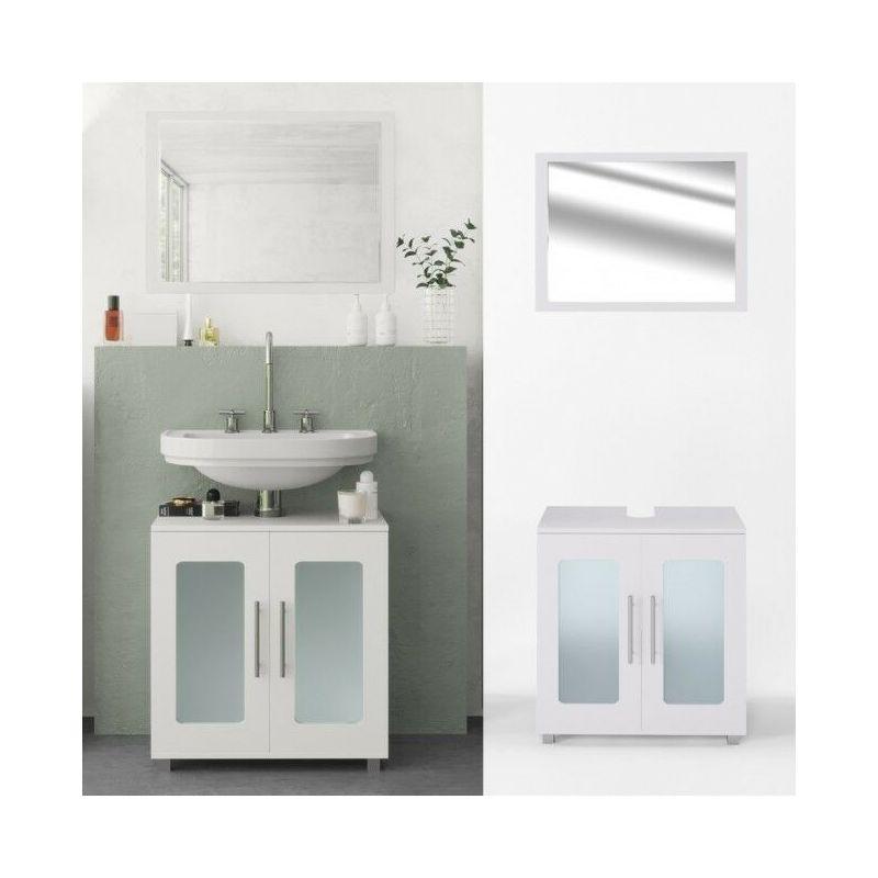 Set da bagno mobile sotto lavabo + specchio con ante in ...