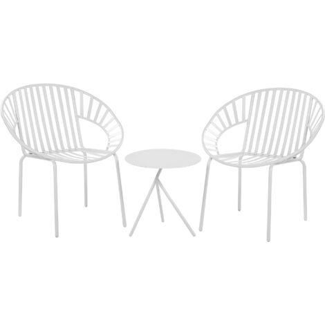 takestop/® BISTROT Set Tavolo Tondo Due SEDIE Stile Moderno Bianco Esterno Giardino Bar Salotto Balcone Pranzo