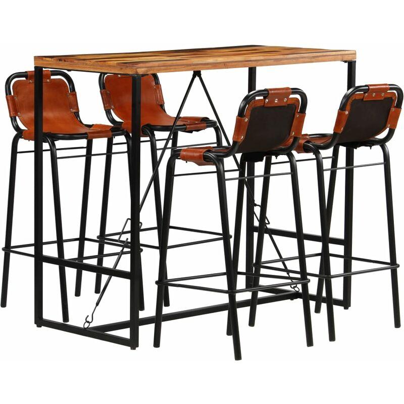 Vidaxl tavolo e sedie da pranzo 5 pz in Pelle Artificiale Quercia Nero Set di MO