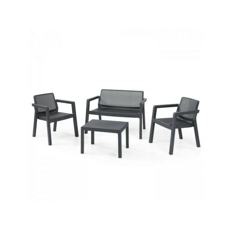 Set da esterno EMILY LOUNGE SET con Divanetto, 2 Sedie e Tavolino 65x47 cm - KETER - Grafite