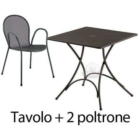 Emu Tavoli Da Esterno.Set Da Esterno Tavolo Pigalle 76x76cm Piu 2 Poltrone Ronda Ferro Antico Emu