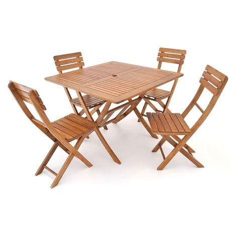 Set da giardino bago 4 in legno d 39 acacia legno q 7205 for Set giardino legno