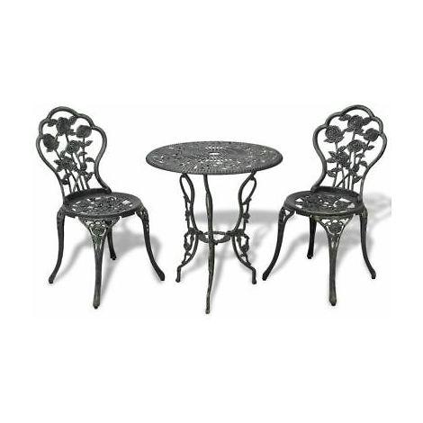Tavoli In Ghisa Da Giardino.Set Da Giardino Bistro Tavolo 2 Sedie Verde In Alluminio E Ghisa