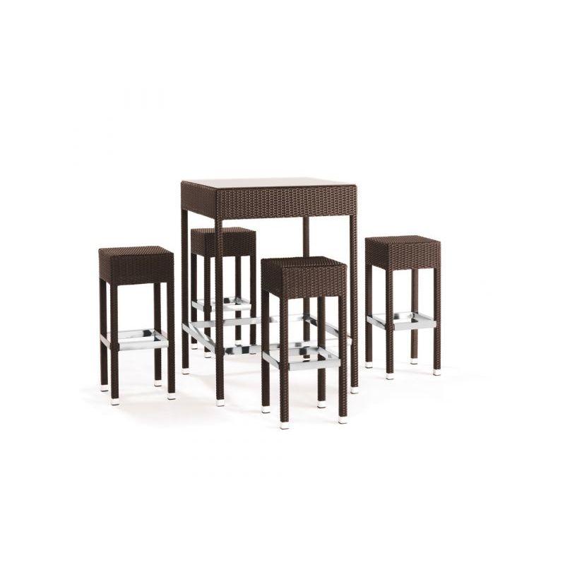 Set da giardino con tavolo e sgabelli in alluminio e simil rattan