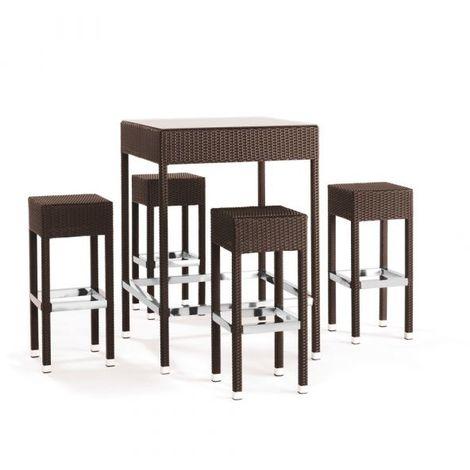 Set Tavolo E Sgabelli.Set Da Giardino Con Tavolo E 4 Sgabelli In Alluminio E Simil Rattan