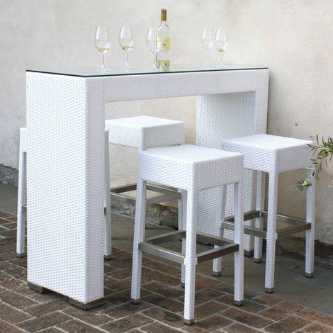 Tavolo Da Cucina Alto Con Sgabelli.Set Da Giardino In Alluminio E Simil Rattan Con Tavolo Alto