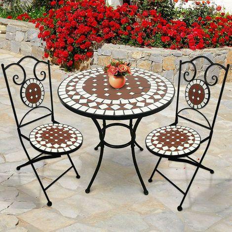 Tavoli Da Giardino In Ferro Battuto E Mosaico.Set Da Giardino In Ferro Mosaico Da Esterno Terrazzo Tavolo 2 Sedie