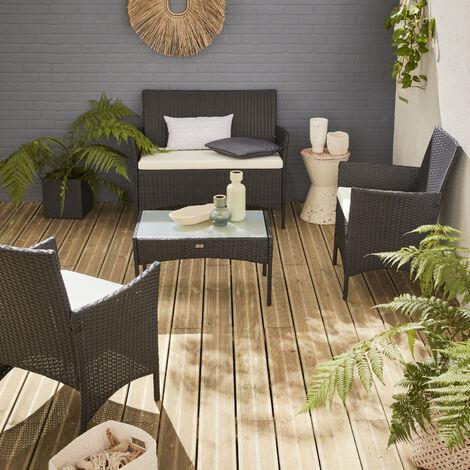 Set da giardino in resina intrecciata, salotto 4 posti, colore: Nero, cuscini Ecru, modello: Moltès
