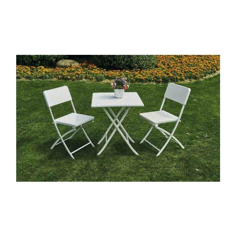 Set da giardino malva 1 tavolo + 2 sedie in acciaio verniciato effetto rattan