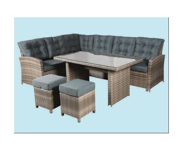 Salotto ad angolo da giardino divano in rattan sintetico madera