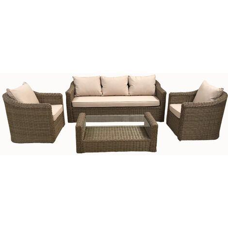 Set da Giardino Regale colore Melange e Simil Rattan divano poltrone e  tavolino vetro temperato 5mm