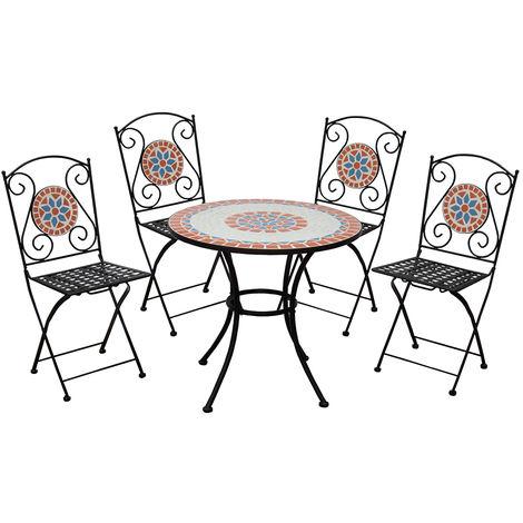 Sedie E Tavoli In Ferro Per Giardino.Set Da Giardino Tavolo Mosaico Con 4 Sedie Pieghevoli In Ferro