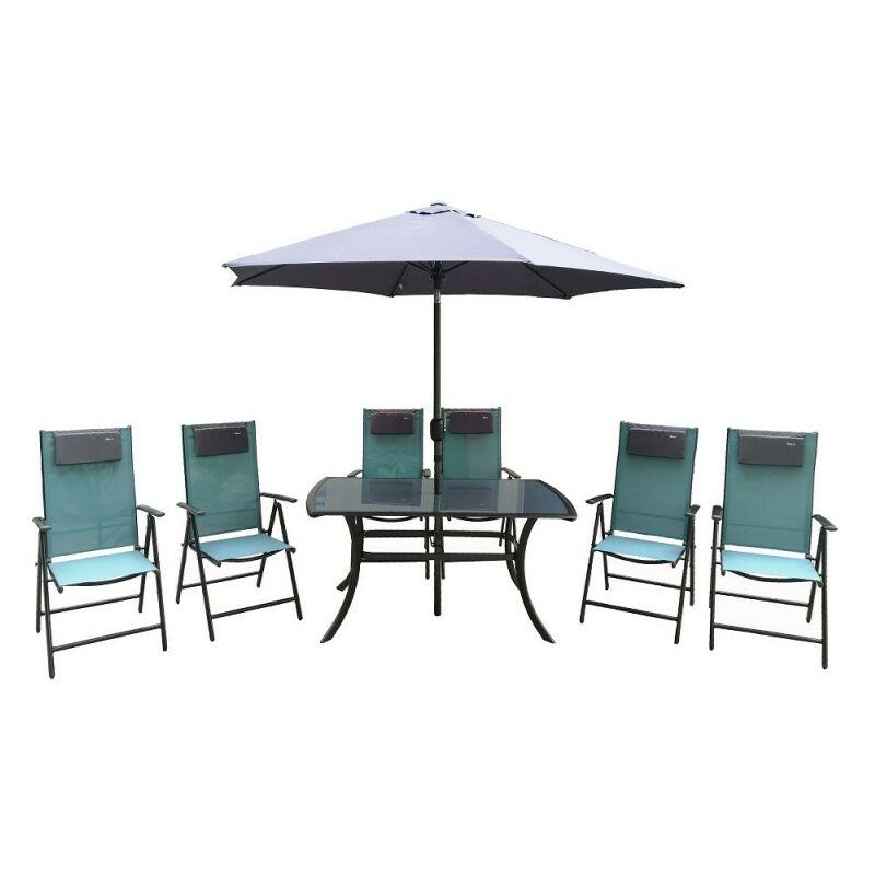 Tavoli E Sedie In Plastica Da Giardino.Set Da Giardino Tavolo Sedie In Resina E Ombrellone Rio Set