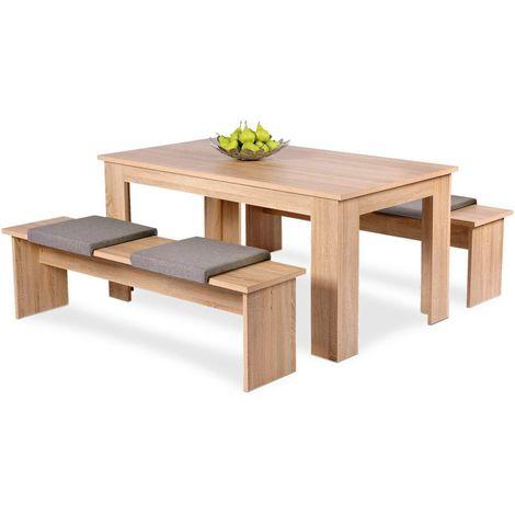 Set da pranzo 2 panche + tavolo in legno laminato color rovere