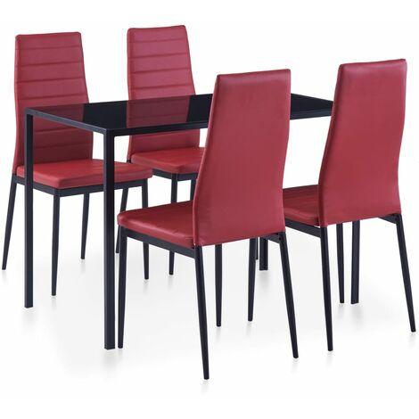 homcom Set 5 Pezzi da Pranzo 1 Tavolo 4 Sedie Imbottite in Pelle Acciaio Legno Nero