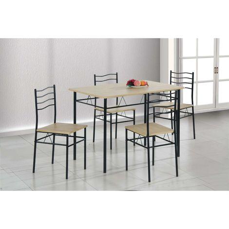 Set da pranzo cucina 1 tavolo e 4 sedie in metallo e legno - v050