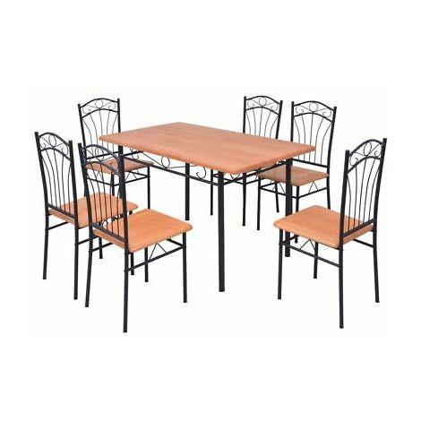 Set da pranzo cucina moderno con tavolo e 6 sedie in legno e metallo marrone